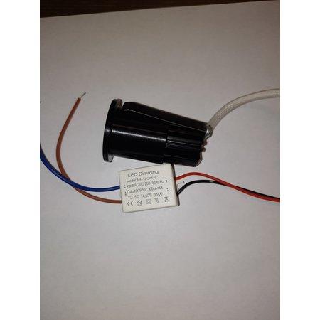 Inbouwspot 30mm mini 3W LED wit of zwart