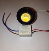 Inbouwspot 30mm zwart of wit LED 3W IP44 waterdicht