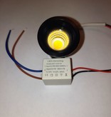 Small recessed spot 30mm 3W black or white IP44 waterproof