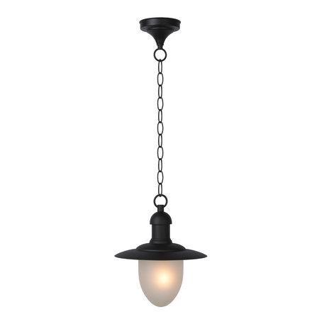Hangende rustieke buitenlamp met glas zwart of roest E27