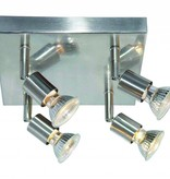 Ceiling light square GU10x4 white, grey, bronze, glass support 200mm