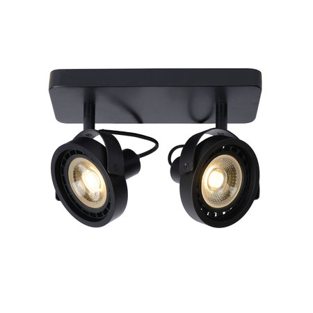 Ceiling light LED black or white AR111 2x12W dim to warm