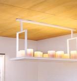 Hanglamp met kaarsen landelijk wit, brons 12 x LED 125cm
