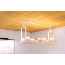 Hanglamp Authentage met kaarsen landelijk wit, brons 12 x LED 125cm