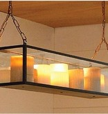 Hanging lamp with candle glass bronze-nickel-chrome 9 x LED 1m