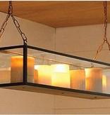 Lampe à suspension avec bougie en verre bronze-nickel-chrome 9 x LED 1m