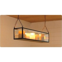 Pendant light glass LED bronze-nickel-chrome 9 candles 1m