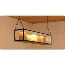 Luminaire suspendu vintage LED verre 9 bougies 1m long