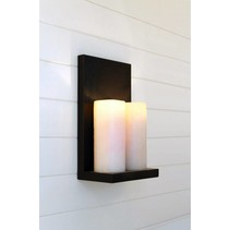 Wandlamp Authentage landelijke stijl LED brons-nikkel 2 kaarsen 45cm