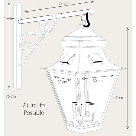Outdoor wall light  lantern rustic on hook 4xGU10+4xE27