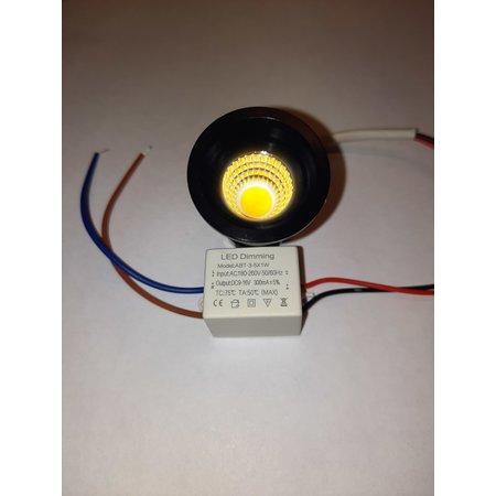 Inbouwspot 30mm mini 5W LED wit of zwart