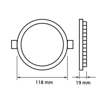 Dalle LED plafond ronde encastrable 6W 120mm diamètre