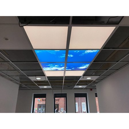 Cloud ceiling 60x60cm for bathroom in surface-mounted frame