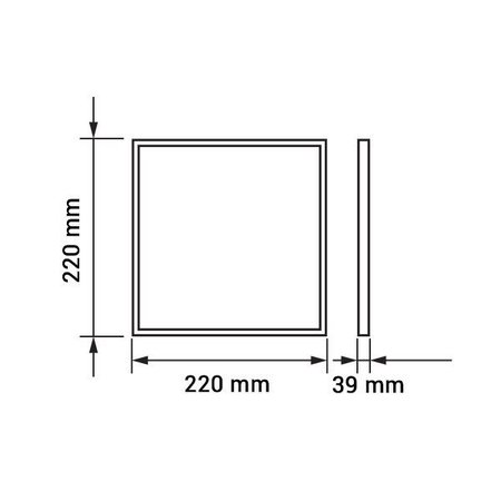 LED panel light surface mounted square 18W 220x220mm
