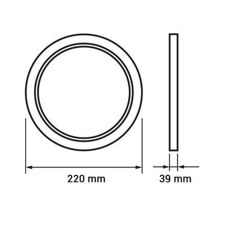 Dalle LED plafond ronde apparente 18W 220mm diamètre