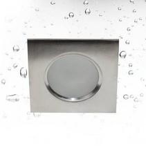 Inbouwspot badkamer vierkant inox 85mm B GU10 IP65