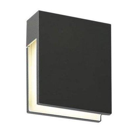 Wandlamp buiten LED wit, anthraciet rechthoekig 120mm 3W