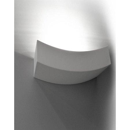Applique murale plâtre courbe R7S 365mm large blanche