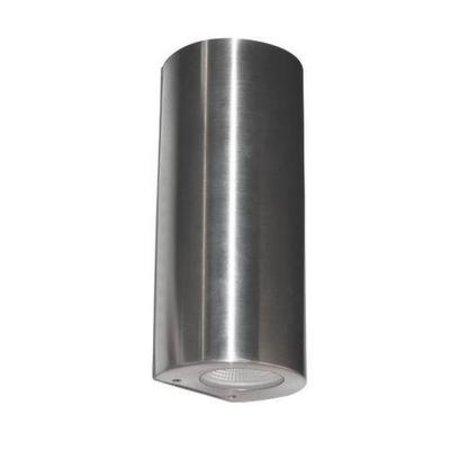 Wandlamp buiten LED cilinder grijs 180mm hoog 2x4W