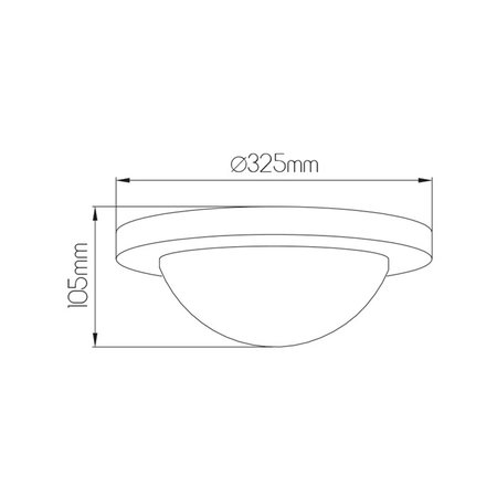 Plafondlamp LED rond glas wit/geborsteld staal 20W 325mm