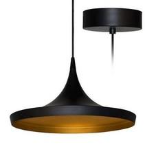 Luminaire suspendu design LED conique noir doré diamètre 350mm 24W