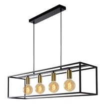 Landelijke hanglamp eettafel fijn metaal 92 cm lang zwart