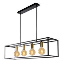 Landelijke hanglamp eettafel fijn metaal 110 cm lang zwart