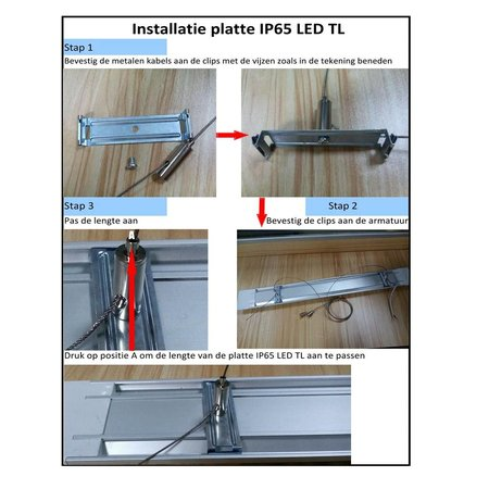 Ophangsysteem voor IP65 LED plat of IP65 LED