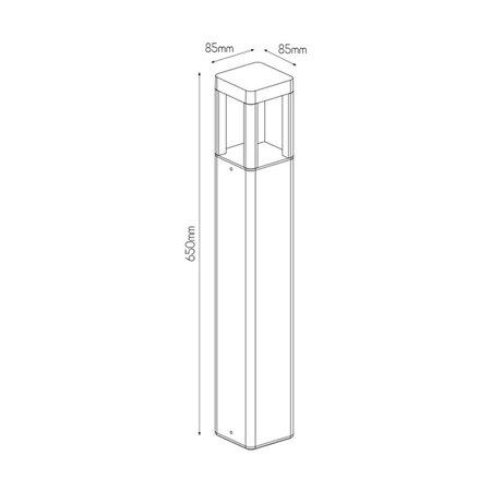 Zwarte vierkante tuinpaal 65 cm hoog en 8.5 cm breed 7watt led