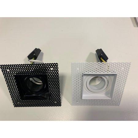 Trimless inbouwspot vierkant GU10 wit/zwart