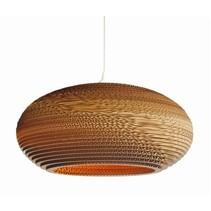 Pendant light design white-beige cardboard ellipse Ø 50cm