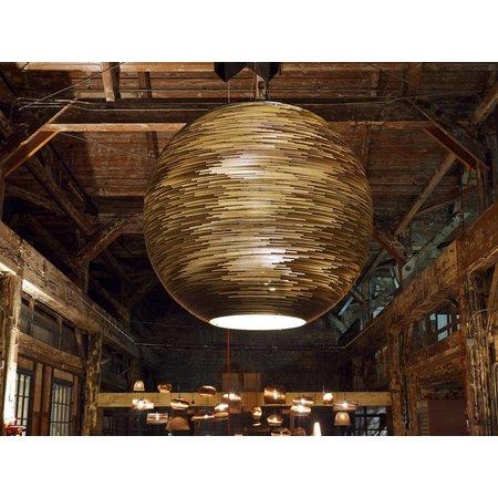 Luminaire suspendu boule blanc beige géant carton Ø 163cm