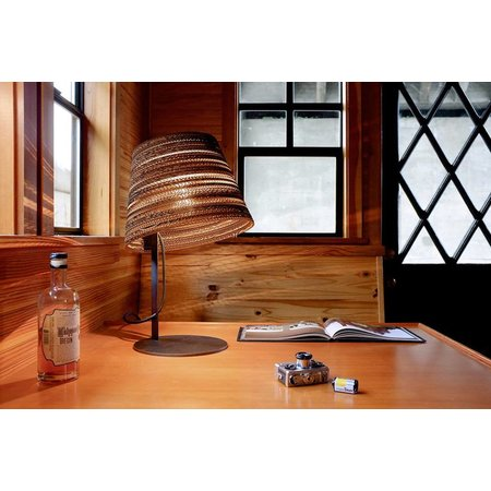 Bureaulamp design wit of beige karton 1xE27 Ø 34cm