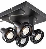 Plafonnier LED dimmable carré GU10 4x4,5W 190mm