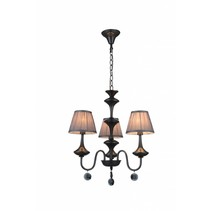 Luminaire suspendu noir gris antique 3xabat-jour E14 504mm haut
