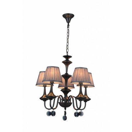 Luminaire suspendu noir gris antique 5xabat-jour E14 504mm haut
