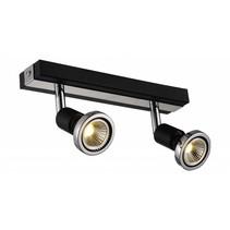 Plafonnier LED blanc/noir/chrome/acier brossé 2xGU10 5W 77mm H