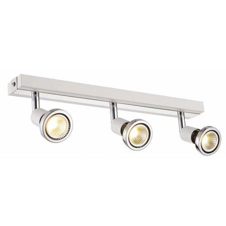 Plafondlamp LED wit/zwart/chroom/geborsteld staal 3xGU10 5W 77mm H