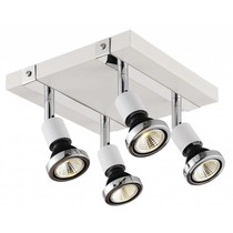 Ceiling light LED square white/black/chrome/brushed steel 4xGU10 5W