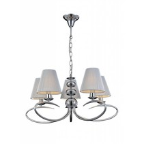 Hanglamp grijs stof retro 5 lampenkapjes E14 330mm hoog
