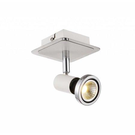 Plafondlamp LED wit/zwart/chroom/geborsteld staal 1xGU10 5W 105mm H