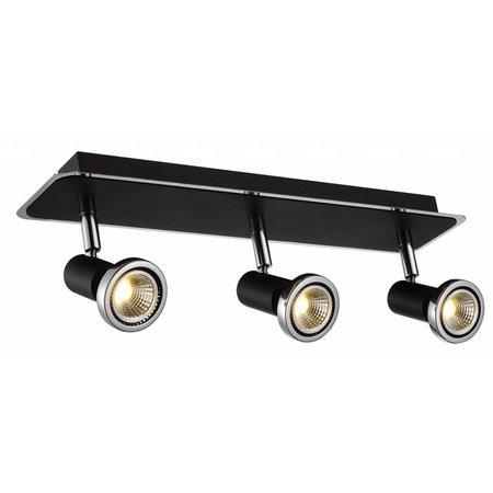 Plafondlamp LED wit/zwart/chroom/geborsteld staal 3xGU10 5W 105mm H