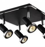 Plafonnier LED carré blanc/noir/chrome/gris 4xGU10 5W 250mm
