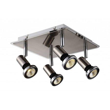 Plafondlamp LED vierkant wit/zwart/chroom/grijs 4xGU10 5W 250mm
