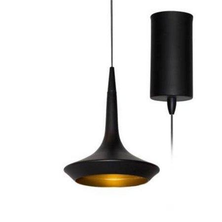 Hanglamp zwart met gouden binnenkant 160mm H 8W LED