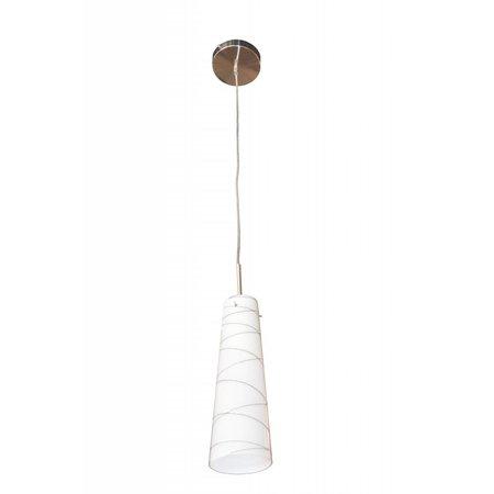 Hanglamp glas wit motief E27 93mm diameter