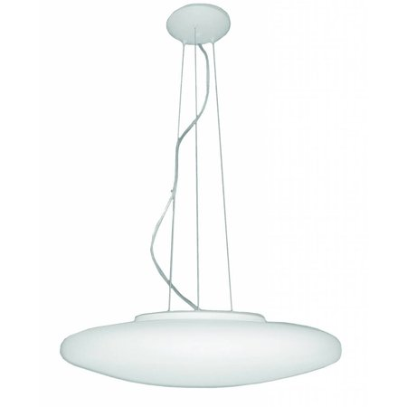 Hanglamp wit rond glas mat 600mm breed 5xE27 1200mm hoog