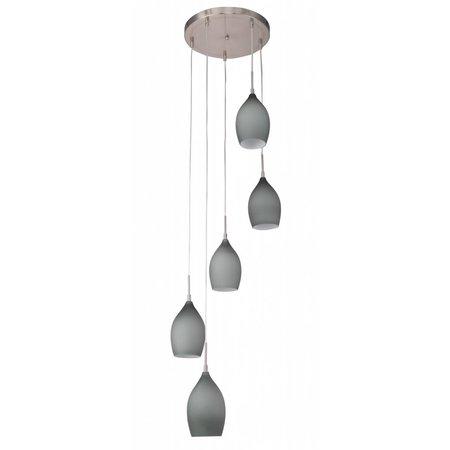 Luminaire suspendu verre mat conique 420mm diamètre 5xE27