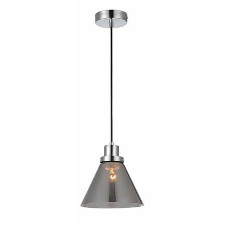 Luminaire suspendu verre fumé conique E27 200mm diamètre