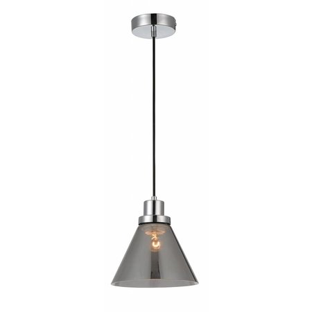 Pendant light glass smoked conic E27 200mm diameter